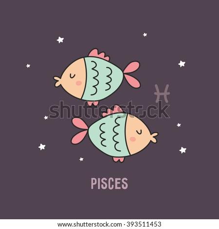 Zodiac sign cartoon vector illustration. pisces - stock vector