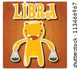 Zodiac sign Libra with cute colorful monster, vector - stock vector