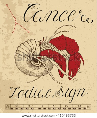 Zodiac sign of Cancer or Crab with constellation. Line art vector illustration of engraved horoscope symbol. Doodle mystic drawing and hand drawn astrology sketch with calligraphic lettering - stock vector