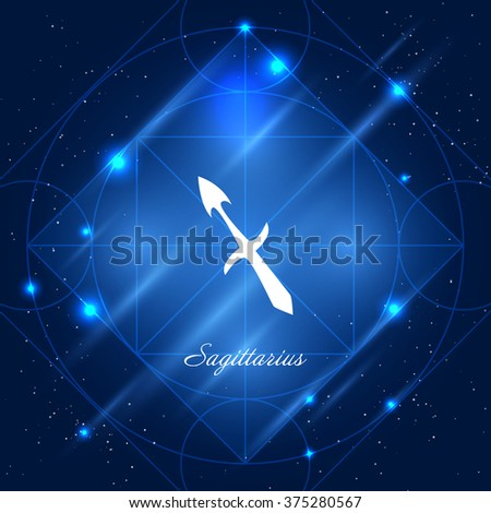Zodiac sign sagittarius. Vector space background with geometric ornament - stock vector