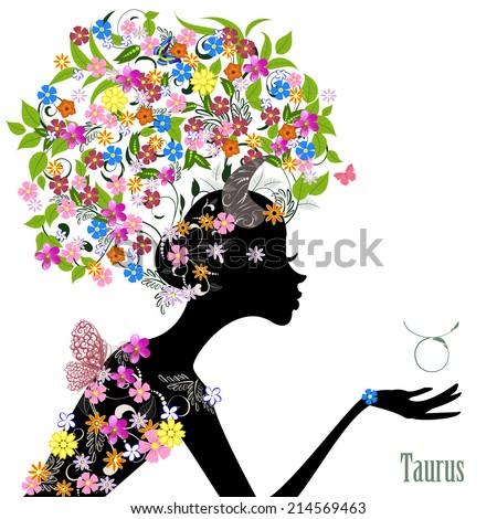 Zodiac sign taurus. fashion girl - stock vector