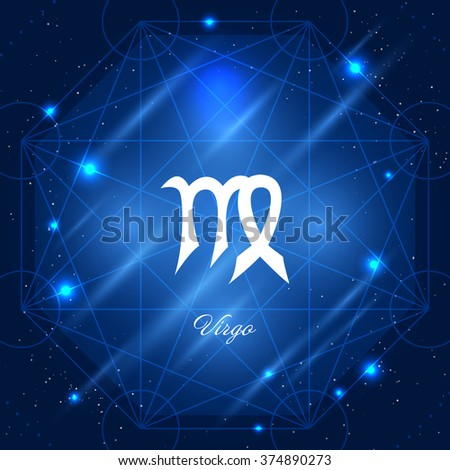 Zodiac sign virgo. Vector space background with geometric ornament - stock vector