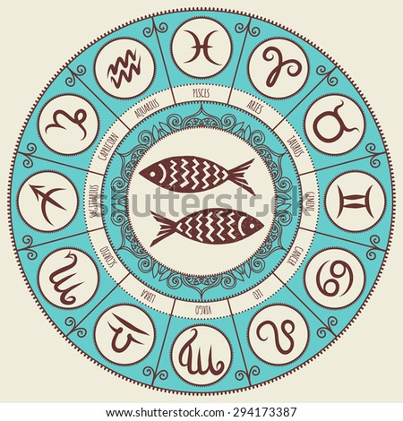 Zodiac sign. Zodiac icons. Freehand drawing. Pisces.  - stock vector