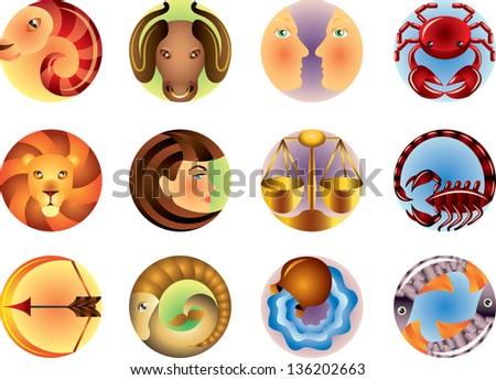 Zodiac signs circled vector set - stock vector