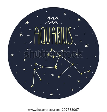 Zodiac signs doodle set - Aquarius - stock vector