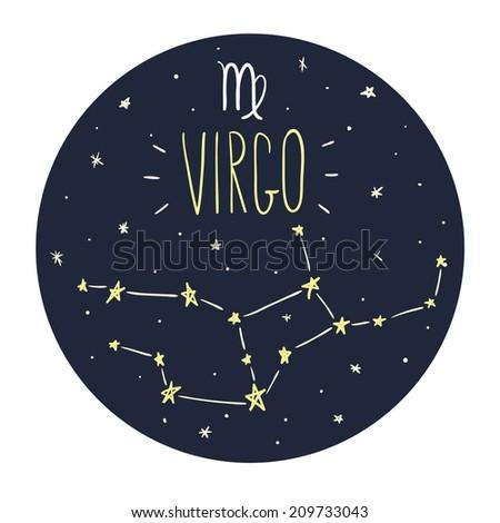 Zodiac signs doodle set - Virgo - stock vector