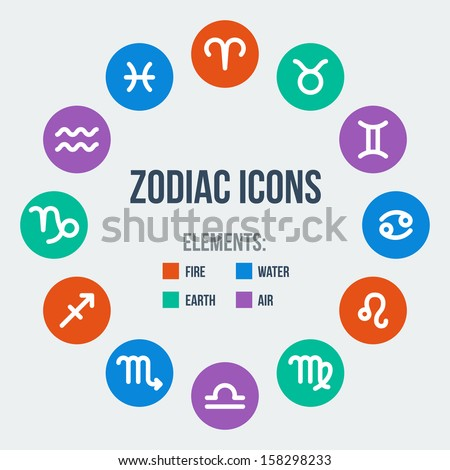 Zodiac signs in circle in flat style. Set of colorful round icons. Zodiak signs. Vector illustration. - stock vector