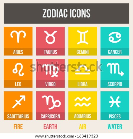 Zodiac signs with captions, in flat style. Set of colorful square icons.  Vector illustration. - stock vector