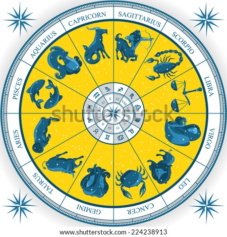 Zodiac Wheel Astrology Natal Chart cartoon vector illustration - stock vector