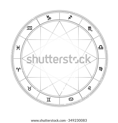 Zodiac wheel monochrome, horoscope chart. - stock vector