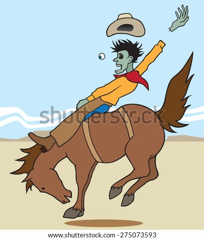 Zombie Bronc Rider - stock vector