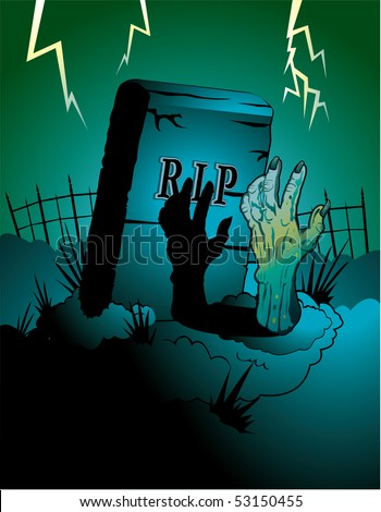 Zombie halloween background - stock vector