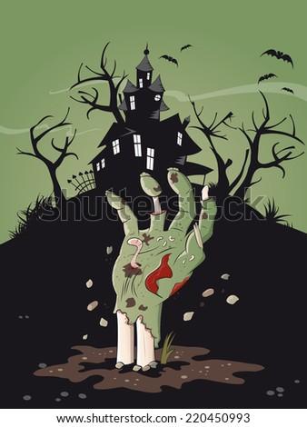 zombie hand halloween background  - stock vector