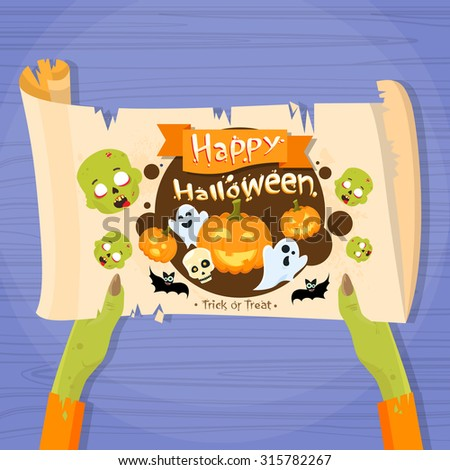 Zombie Hand Hold Ancient Manuscript Banner Ghost Pumpkin Face Cartoon Halloween Character Web Scroll Paper Party Invitation Card Vector Illustration - stock vector