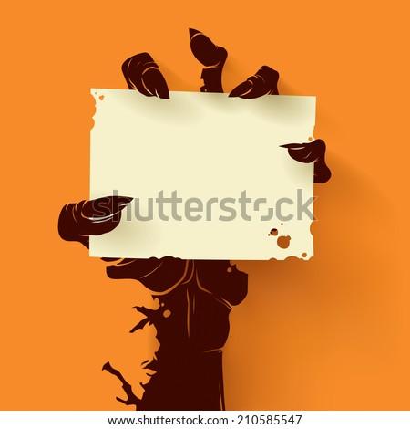 Zombie hand holding a blank sign card - stock vector