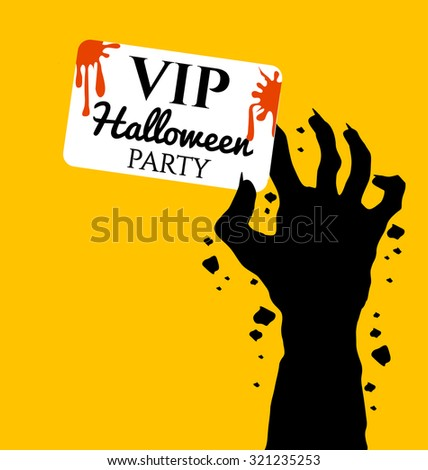 Zombie hand holding invite VIP card for halloween day - stock vector
