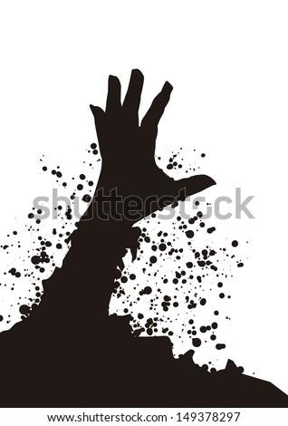 zombie hand mono - stock vectorZombie Hand Silhouette
