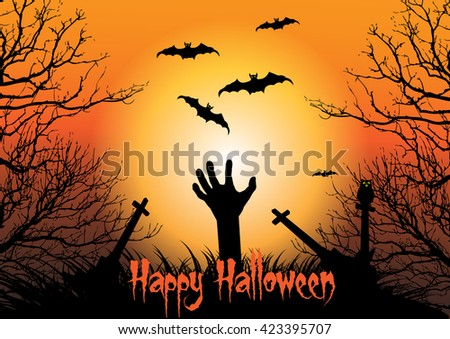 Zombie hand raising on cemetery graveyard background concept for Happy Halloween day. Vector Illustration. - stock vector