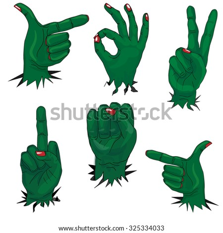 zombie hand set isolated - stock vector