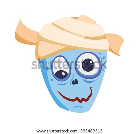 Zombie head cartoon monster character scary flat vector illustration. Zombie head character face and zombie head smile spooky man. Portraip of cartoon moster blue zombie vector. Halloween kids style - stock vector