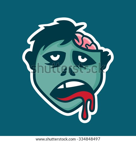 Zombie head icon illustration with exposed brain - stock vector