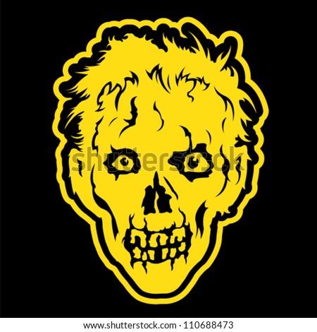 Zombie head in black background - stock vector