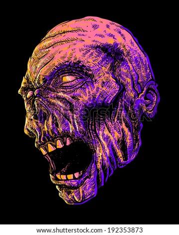 Zombie Head Vector - stock vector
