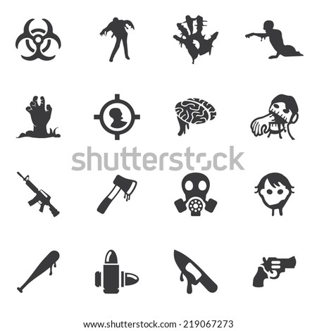 Zombie Land Silhouette icons - stock vector