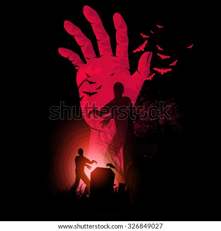 Zombie Night. A zombie hand rising up with zombies walking. Halloween Vector illustration. - stock vector