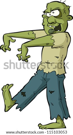 Zombie on a white background vector illustration - stock vector
