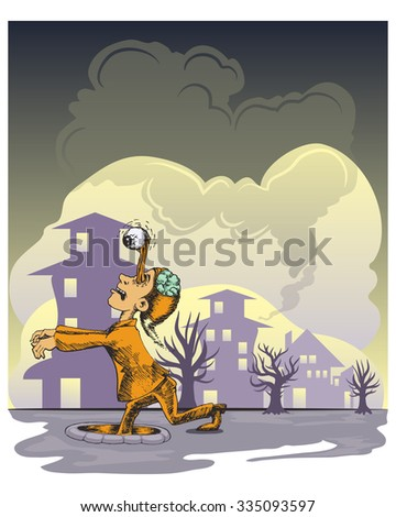 zombie walking in the night with city house background - stock vector