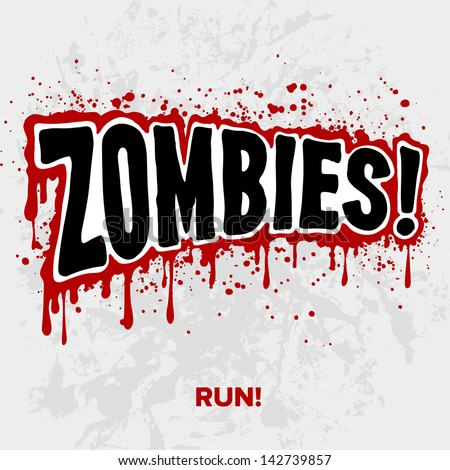 Zombies! Text lettering illustration comic design - stock vector