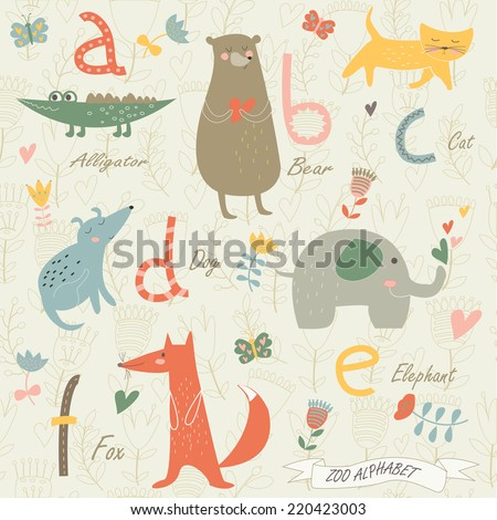 Zoo alphabet with cute animals. A,b,c,d,e,f letters. Alligator, bear, cat, dog, elephant, fox in cartoon style. - stock vector