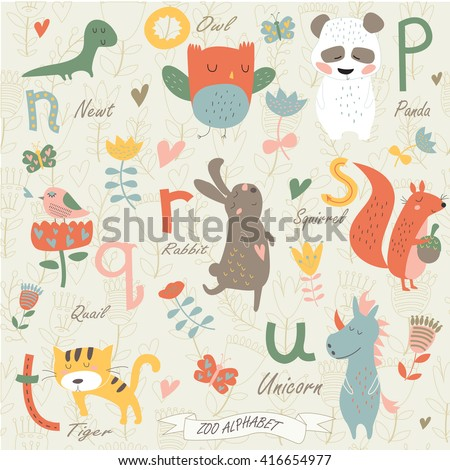 Zoo alphabet with cute animals in cartoon style. n, o, p, q, r, s, t, u  letters. Newt, owl, panda, quail, rabbit, squirrel, tiger, unicorn. - stock vector