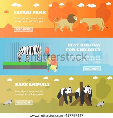 Zoo concept banners.  Animals in zoo, panda, zebra, lions. Vector illustration in flat style design. - stock vector