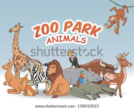 Zoo park. Big cartoon animal set - stock vector