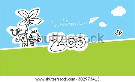 Zoo vector animals illustration for kids, hand drawn doodle style - stock vector