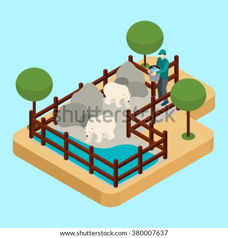 Zoo worker and polar bears with rocks and water on blue background isometric vector illustration  - stock vector