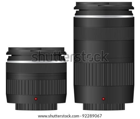 Zoom camera lens on a white background. Vector illustration. - stock vector
