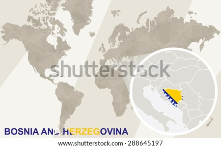 Zoom on Bosnia and Herzegovina Map and Flag. World Map.  - stock vector