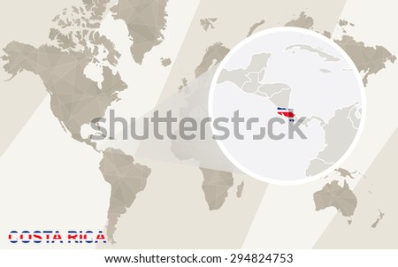 Zoom on Costa Rica Map and Flag. World Map.  - stock vector