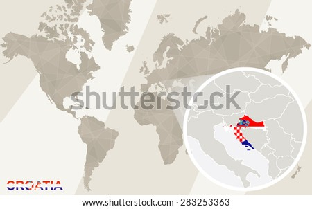 Zoom on Croatia Map and Flag. World Map. - stock vector