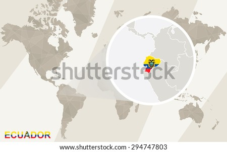 Zoom on Ecuador Map and Flag. World Map.  - stock vector