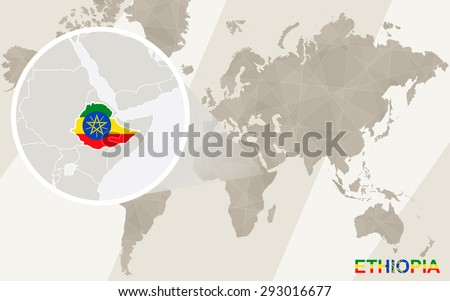 Zoom on Ethiopia Map and Flag. World Map.  - stock vector
