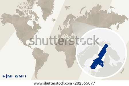 Zoom on Finland Map and Flag. World Map.  - stock vector