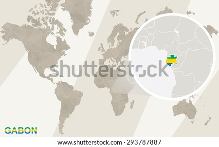 Zoom on Gabon Map and Flag. World Map.  - stock vector