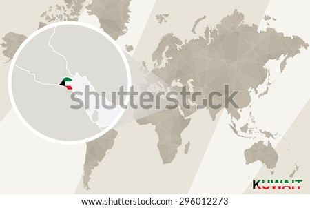Zoom on Kuwait Map and Flag. World Map.  - stock vector
