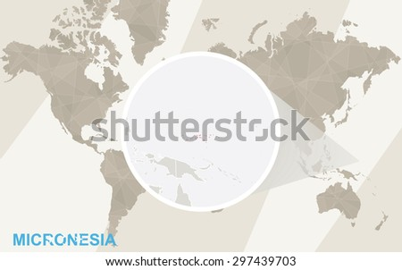Zoom on Micronesia Map and Flag. World Map.  - stock vector