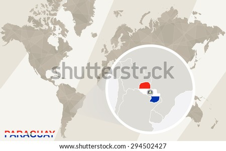 Zoom on Paraguay Map and Flag. World Map.  - stock vector