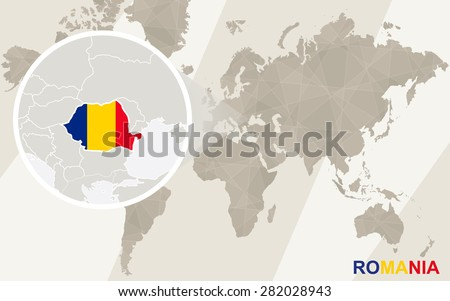 Zoom on Romania Map and Flag. World Map.  - stock vector